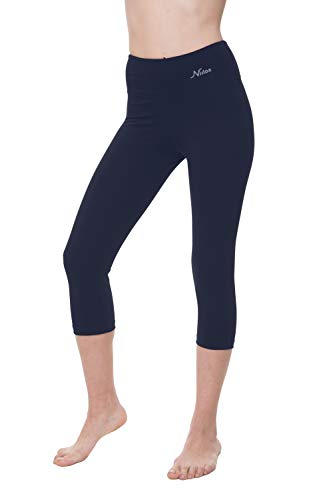 Activewear-crop Hose (NIRLON Capri-Leggings für Damen, hohe Taille, Workout, Capris, Yoga-Hose, Übergröße, Damen, Navy Blue 18