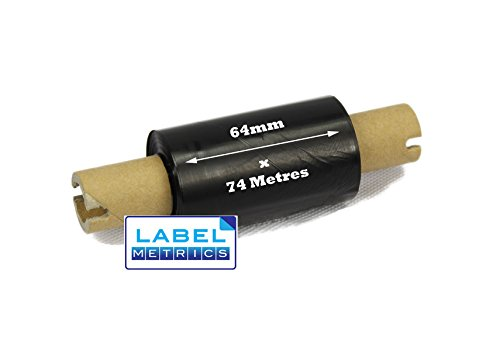 label Metrics – 64 mm X 74 M schwarz Thermal Transfer Ribbons Wachs Klasse – Box von 24 (Datamax Thermische)