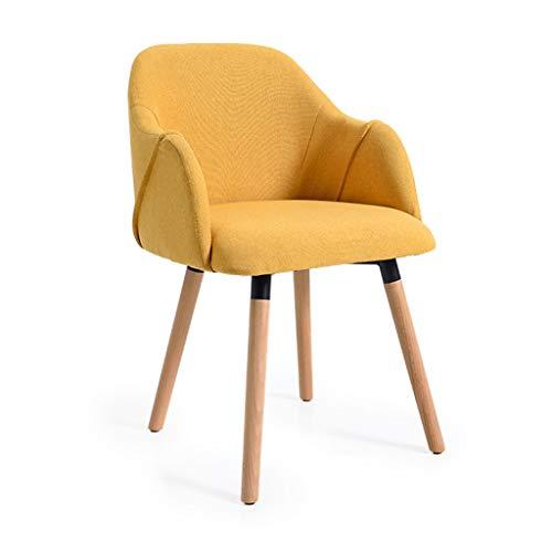 Silla nórdica Minimalista Moderna Café Respaldo de Escritorio Silla de Comedor de Madera Maciza de Ocio 48 * 44 * 85 (cm) (Color : Yellow)