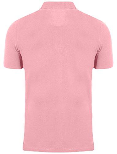 Herren Pique Polo T-shirt Tokyo Laundry Kurzärmeliges Top Kragen Baumwolle Sommer Pink - 1X8910