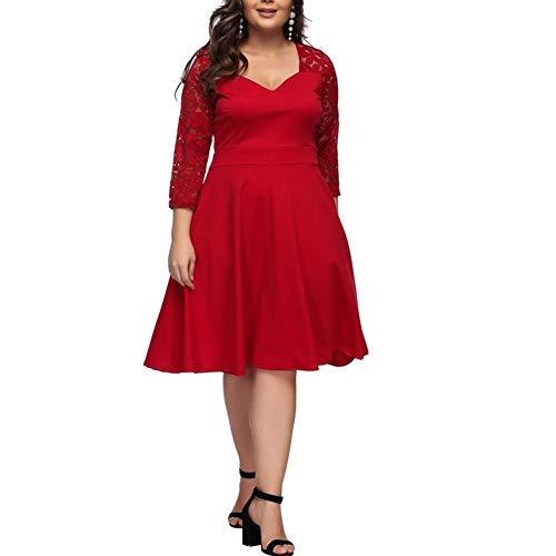 Blumen Fur Bag (Lover-Beauty Kleider Damen elegant Abendkleider Spitze Blumen Große Größen Kleid Partykleider Cocktail Kleid Rot,M)