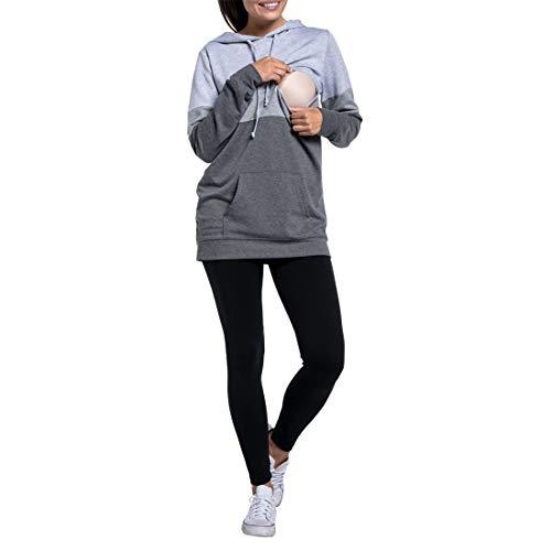 Zhhlinyuan Kapuzenpullover Stillzeit Top Invisible Stillen t-Shirt für Damen - Umstandsmoden Rundhals Lange Ärmel Lagendesign Maternity T-Shirt