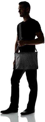 Delsey Haussmann borsa a tracolla pelle 36 cm compartimenti portatile Nero