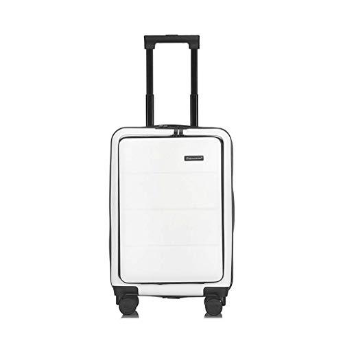 Neu ABS 4-Rad-Gepäck Leichter Koffer Trolley, Handgepäck Computer Reißverschluss Hartschalen Reisetasche Robustes kabinentrolley White-22 inches