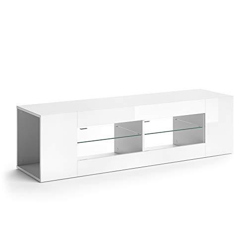 Vicco Lowboard LED STELIOS Hochglanz Fernsehtisch TV-Schrank Sideboard (Weiß Hochglanz)