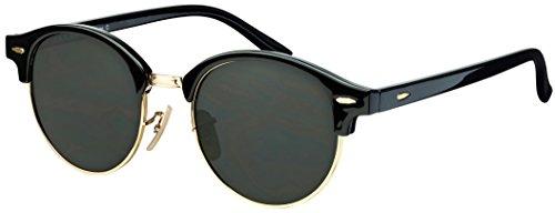 Sonnenbrille Halbrand La Optica UV 400 Schutz Unisex Damen Herren Rund Round - Schwarz Gold (Gläser: Grün Klassisch)