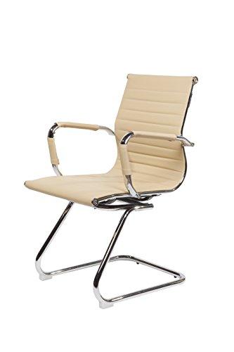 Design Bürostuhl Chrom Rahmen Elegance Chefsessel Drehstuhl Konferenz-Stuhl (Beige, Freischwinger)