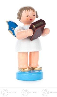 (Engel mit Bibel stehend, blaue Flügel Höhe ca 5,5 cm NEU Erzgebirge Weihnachtsfigur Holzfigur)