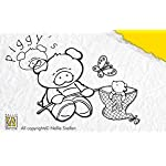 Nellies Choice Clear Stamp - Piggy With His Butterfly Net