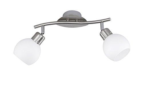 Trio Leuchten LED-Balken in Nickel inklusiv 2x E14, 4 Watt LED, Breite 30 cm, Glas opal matt weiß 824810207 - Serie-track-beleuchtung