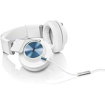 AKG K545 Geschlossener Over-Ear Kopfhörer Weich Gepolstert und Faltbar mit Mikrofon und Universal 1-Tasten-Fernbedienung Kompatibel mit Apple iOS und Android Geräten - Weiß