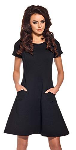 Lemoniade Elegantes Sommerkleid mit raffinierten Schnitten und in vielen Farben Made in EU, Modell 1 Schwarz, Gr. M (38)