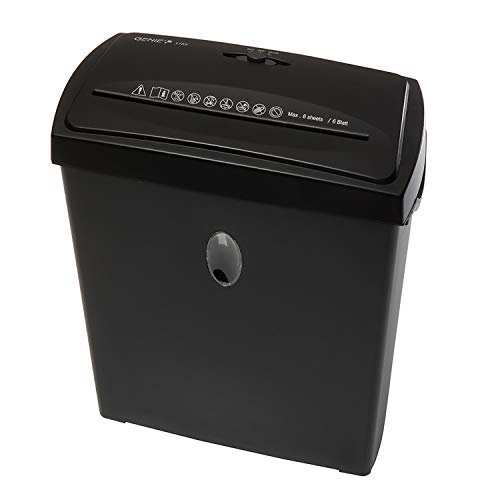 erheits Aktenvernichter, bis zu 6 Blatt, Partikelschnitt - Shredder (Sicherheitsstufe P-4), inkl. Papierkorb - geeignet für Datenschutz nach neuer Verordnung (DSGVO 2018), schwarz ()
