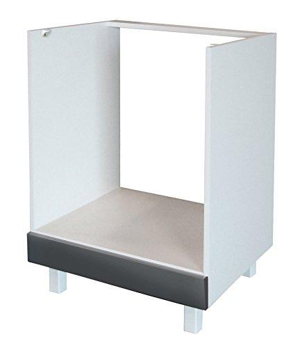 Berlenus CF6BG Küchenunterschrank, 1 Tür, 60cm, Hochglanz Grau