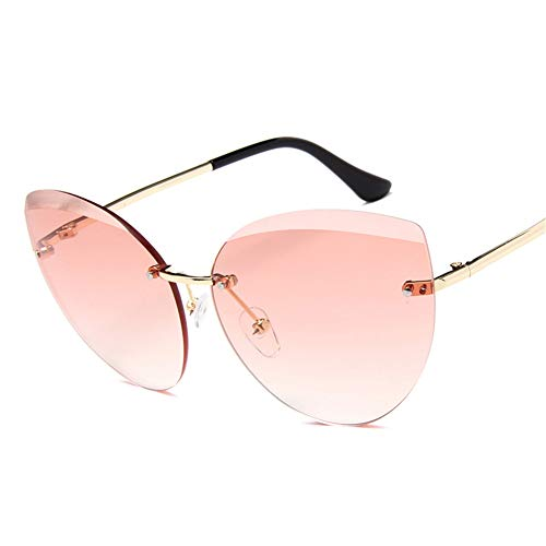OOFAY Weibliche rahmenlose Sonnenbrille, Frau Edge Schneiden Brille Damen Meeresscheiben Sunshade...