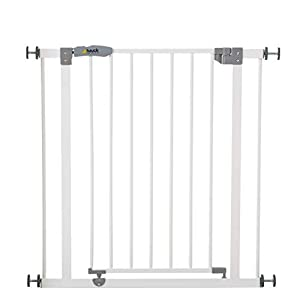 Hauck Open N Stop, Pressure Fit Safety Gate 75 - 80 cm, Extendable with Sepratate Extensions, Compatible with Y-Spindle for Railings, Metal Gate for Kids - White