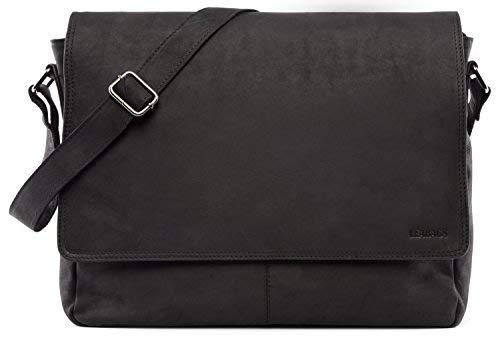 LEABAGS Oxford Umhängetasche Leder Laptoptasche 15 Zoll aus echtem Büffel-Leder im Vintage Look, (LxBxH): ca. 38x10x31 cm - Schwarz -