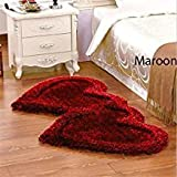 Good Price Modern Stone 5D Shaggy Double Heart Rugs and Carpets for Living Room, Hall, Non Slip Decorative for Marriage Room,Bedroom Runner-Red Black