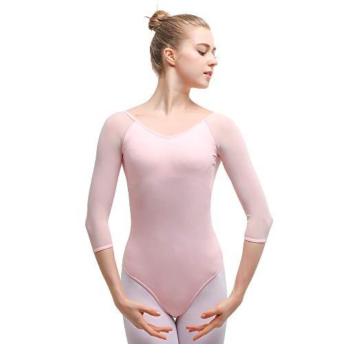 Bezioner Ballettanzug Mädchen 3/4 Arm Gymnastikanzug Damen Trikot Turnanzug (Rosa, XXL=165cm-170cm) - Damen-tanz-trikot Pink