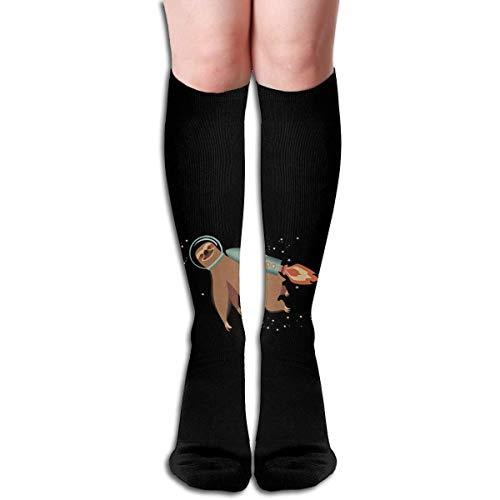 ouyjian Outer Space Sloth Rocket Design Elastic Blend Long Socks Compression Knee High Socks (50cm) for Sports Trend 5821