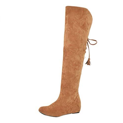 TTLOVE Schneestiefel Damen Knie Winterstiefel warm gefüttert Lace-Up Stiefel Wedges Schuhe Winter Warm Schnee Hohe Stiefel Pelzstiefel Flache Schuhe Overknee Stiefel(Gelb,38 EU) -