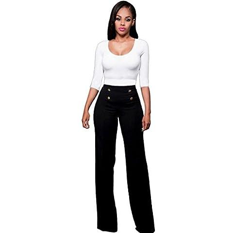 Jamicy Sexy Women Fashion Slim High Waist Flare Wide Leg Palazzo Casual Long Trousers Pants (M,
