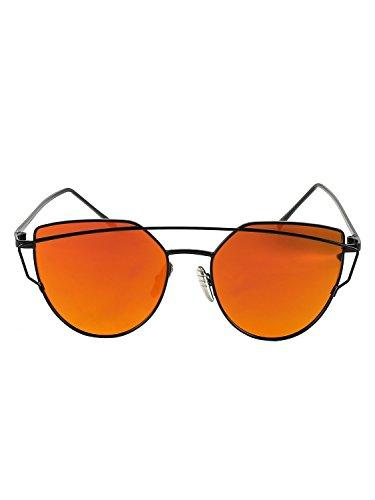 Simplee Apparel Damen Cat Eye Sonnerbrille Modere Vintage Twin Träger Sunglasses Katzenaugen Brille (Cat Eye Vintage Brille Rot)
