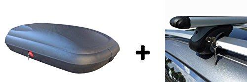 Dachbox Carbon Optik VDP 320BA günstiger Auto Dachkoffer 320 Liter abschließbar + Alu-Relingträger Dachgepäckträger im Set für Citroen Berlingo ab 96