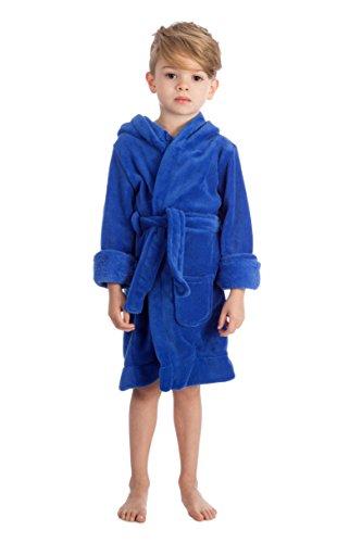 Elowel Kinder Schlafanzug Bademantel mit Kapuze fur Jungen und Madchen Blau (Größe 92/2)