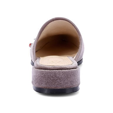 LvYuan Sandalen-Büro Kleid Lässig-Seide-Niedriger Absatz Blockabsatz-Club-Schuhe-Schwarz Grau gray