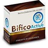 Bifico Active- Synbiotic in chocolate (contains probiotic cultures and inulin- Milk chocolate (Cocoa nibs, Sugar, cocoa butter, powdered milk, soy lecithin, raw vanilla bean). 1 chocolate provides 1,0 billion probiotic cultures (Bacillus Coagulans GBI30 6