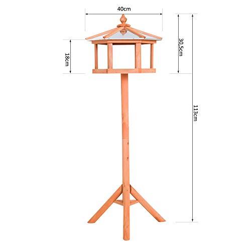 PawHut D3-0006 Vogel/Futterhaus Kanarien Holz mit Ständer und Zinkdach Wasserdicht, natur - 4