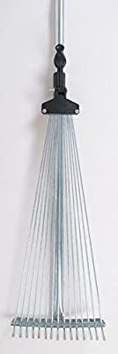 Teleskop-Rechen 119-150cm Fächerbesen Laubharke 15Zinken Gartensammler Laubbesen