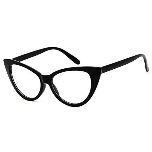 Dawnzen® Mujer Gafas de Gato Montura Marcode Gafas, 50's Ojo De Gato Cat Eye Lente Transparente Retro Moda Vintage Triangle Gafas (Estilo 2)