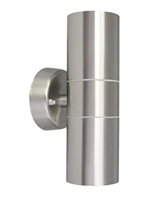 Long Life Lamp Company IP65 Stainless Steel Modern Double Up Down Wall Spot Light - inexpensive UK wall light shop.