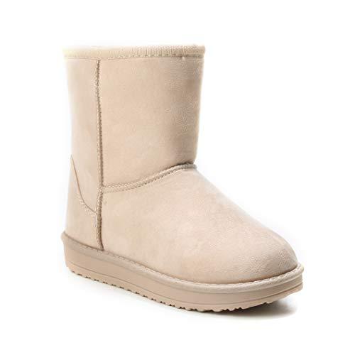 HERIXO Damen Baby Kinder Mädchen Junge Schuhe Winter-Boots Snowboots Schnee Fell-Stiefel warm dick gefüttert Futter Schlupfstiefel beige Kunst-Pelz(35 EU,Beige)