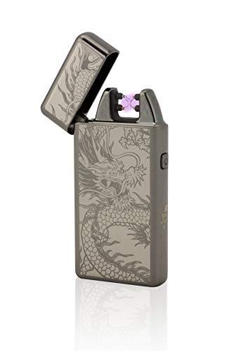TESLA Lighter T05 Lichtbogen Feuerzeug, Plasma Double-Arc, elektronisch wiederaufladbar, aufladbar mit Strom per USB, ohne Gas und Benzin, mit Ladekabel, in Edler Geschenkverpackung, Schwarz Drache
