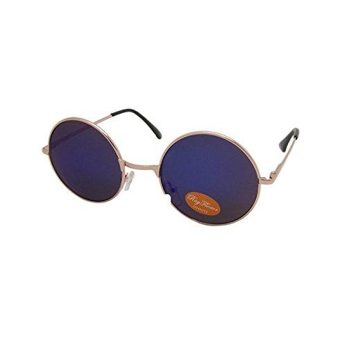 Rund Hippie Brille John Lennon getönt 400UV langer Steg blau gold (John Lennon Brille Blau)
