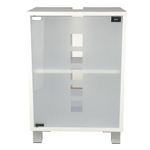 Waschbeckenunterschrank schlicht in weiß mit Glastür - 2