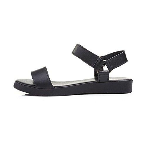 Sólidas Couro Sandálias Senhoras Preto Velcro De Adee XHq64