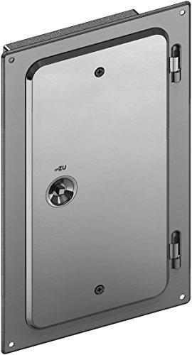 Kamintüre / Schornsteintüre 300 x 150 mm mit Schiebestutzen 60 mm aus Edelstahl für einwandige Schornsteine - Schornstein-klappe