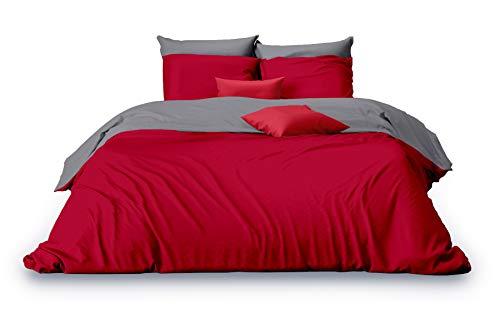 Matrazzo Bettwäsche Azara, Mako-Perkal 100% ägyptische Baumwolle (Rot-Grau, 200x200 cm + 40x80 cm) - Rot Bettbezug