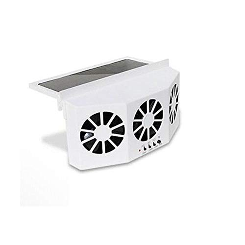 CONRAL Solar angetriebene Auto-Fenster-Kühlerlüfter, Automobile Windschutzscheibe Kühler Kühler Belüftungsventilator Mini Klimaanlage Kühler Sommer Vehicls Kühlwerkzeuge,White