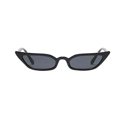 Makefortune Frauen Sonnenbrillen, Frauen-Weinlese-Katzenaugen-Sonnenbrille-Retro- kleiner Rahmen UV400 Eyewear arbeiten Damen-Gläser um (Schwarz) (Augen Brille Rote Frau)