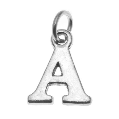 Sterling Silber Anfangsbuchstabe A, Alphabet Talisman, 16mm /1 Stück -