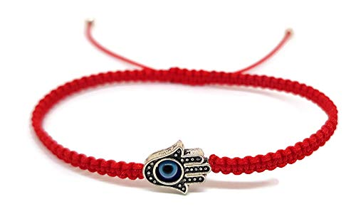 Imagen de mystic jewels by dalia  pulsera hilo rojo macrame para suerte  ojo turco azul con mano de fatima hamsa