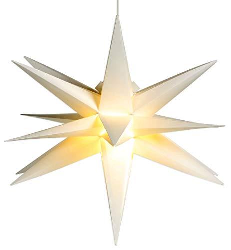 Advents-Stern aussen weiß 58 cm 18 Zacken mit LED-Birne und 7,5 m Strom Kabel Timer