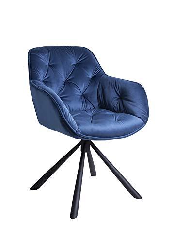 Meubletmoi Chaise/Fauteuil pivotant Velours Bleu - piétement métal - Design Contemporain -Star