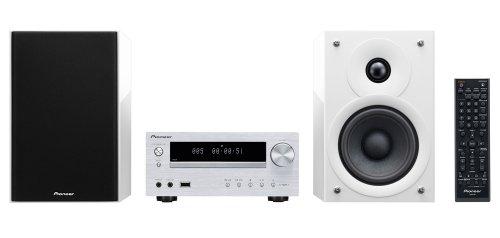 Pioneer X-HM51-W Micro-System (2x 50 Watt, Bluetooth, USB) inkl. verbesserte 2 wege-Lautsprechersystem silber-weiß Ipod Lautsprecher Mit Ladefunktion Cd-player