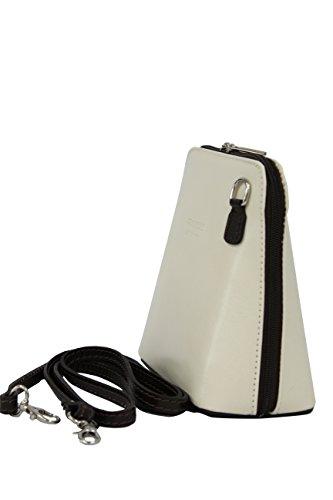 AMBRA Moda - Borsa di pelle a tracolla Donna, borsa piccolo Creme + Dunkelbraun